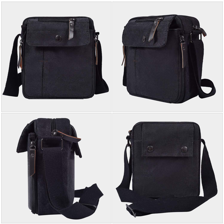 Mens Multifunction Canvas Crossbody Shoulder Bag Outdoor Travel Small Satchel Bag,Multi-Pocket Purse Handbag Organizer Bag,Black by dealcase (Image #3)