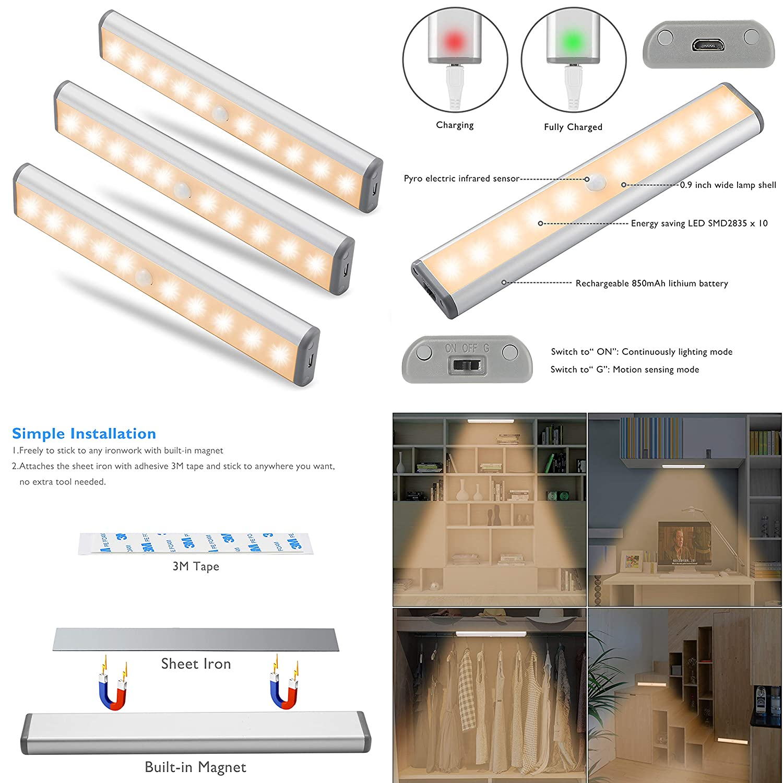 Moston 10 LED USB Recargable magnético Movimiento Sensor Luces nocturnas,oscuridad a amanecer Célula fotoeléctrica incluido Auto en/apagado Portátil Sin ...