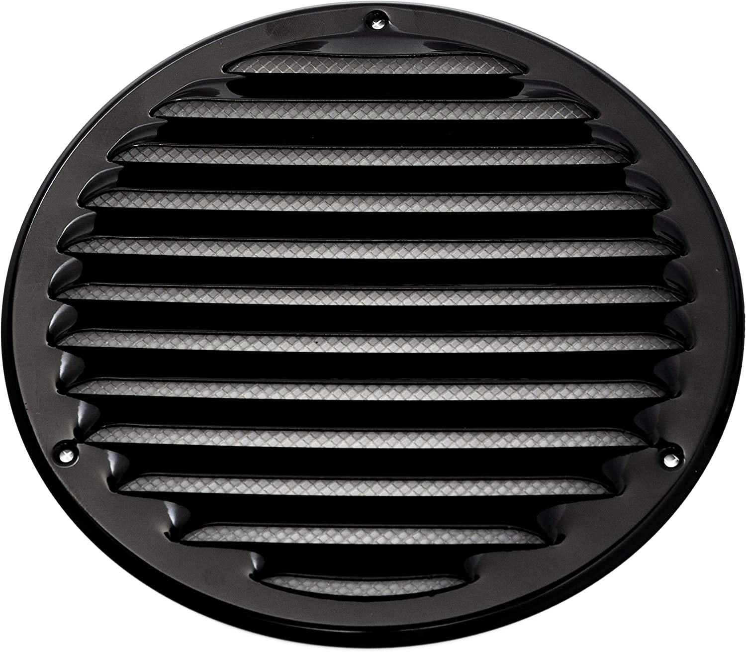 Vent Systems 8'' Inch Black Soffit Vent Cover - Round Air Vent Louver - Grill Cover - Built-in Insect Screen - HVAC Vents for Bathroom, Home Office, Kitchen
