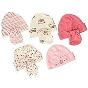 Gerber Baby Girls Pack of 5 4 Pair, Lil' Flowers, Cap 0-6M, Mitten 0-3M