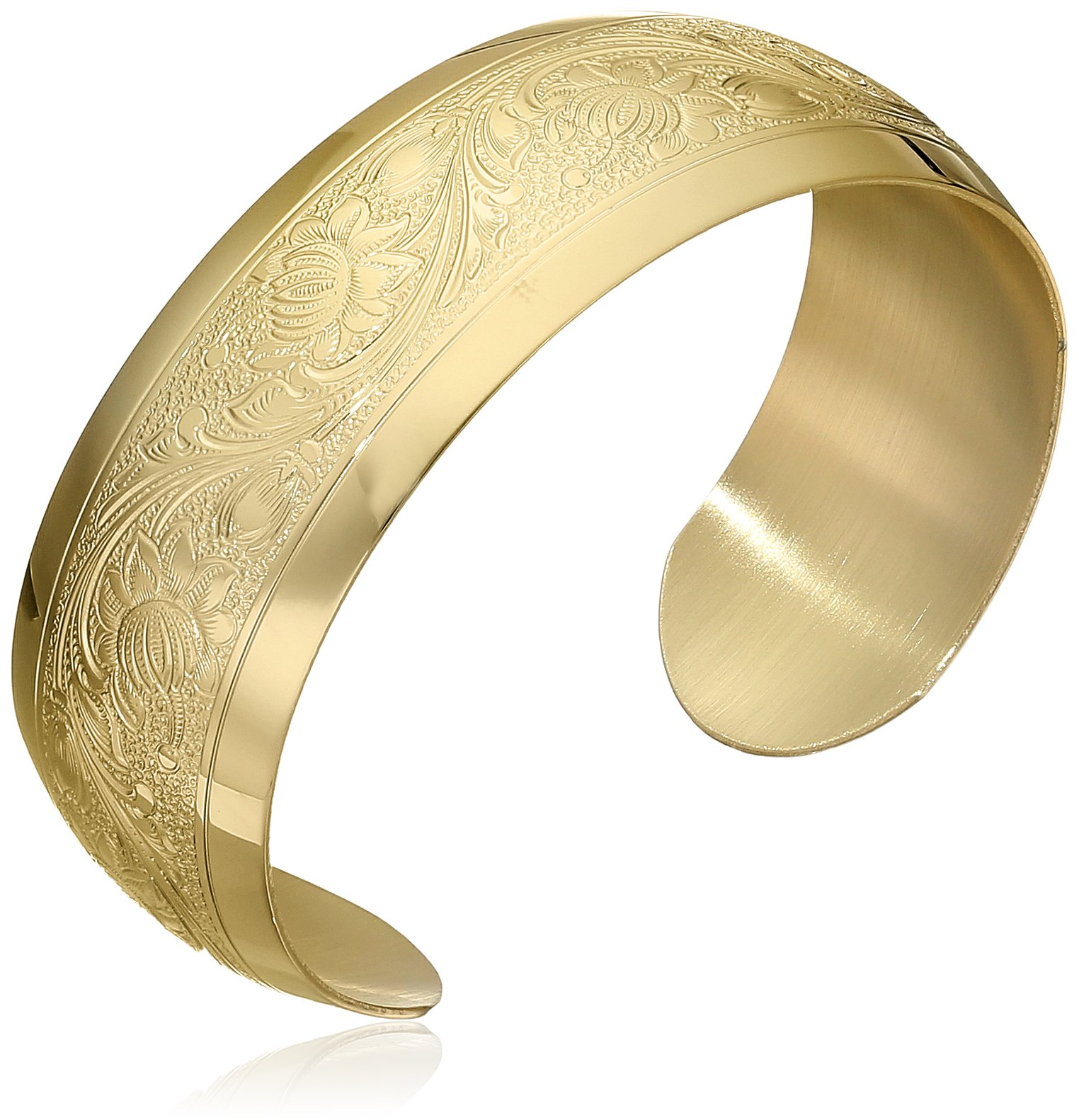 14k Yellow Gold-Filled Embossed Flower Design Cuff Bracelet