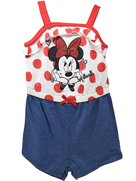 086e89cc9 Amazon.com: Disney Minnie Mouse Girls Overalls Ruffle Shirt Denim Shorts  Romper Outfit: Clothing
