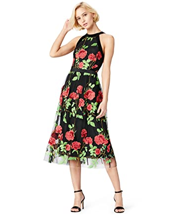 TRUTH & FABLE Robe Midi Femme Broderies à Fleurs, (Multicoloured), 42 (Taille Fabricant: Large)