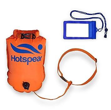 0d52165e170a Hotspear Boya De Natación para Aguas Abiertas con Bolsa Estanca, con Dos  Cámaras de Aire Rapido de inflar y desinflar Swimming Dry Bag Buoy