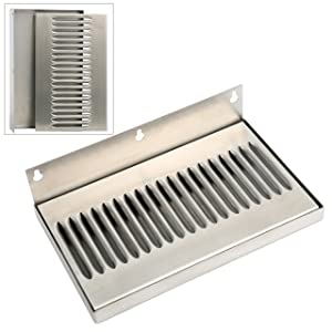 YaeBrew 10 Inch Draft Beer Wall Mount Drip Tray - Stainless Steel - No Drain