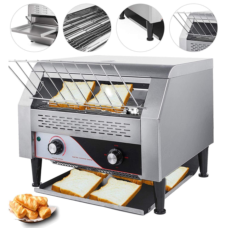 VEVOR 110V Commercial Conveyor Toaster 300PCs per Hour 2200W Heavy Duty Stainless Steel for Restaurant Breakfast, Sliver