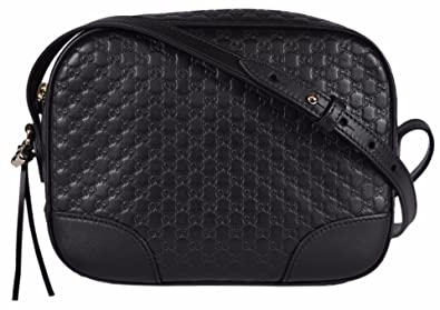 9b2b4f16716 Gucci Women s Leather Micro GG Guccissima BREE Crossbody Purse Bag (Black)