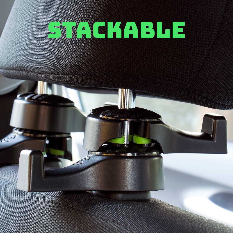 Set of 2 Car Headrest Hooks Premium Car Seat Hangers Holders for Purse Bag with Locker