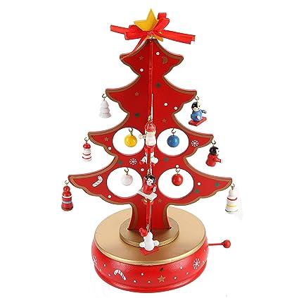 Amazon.com: LancerPac Rotating Music Box Wooden Tabletop Christmas ...