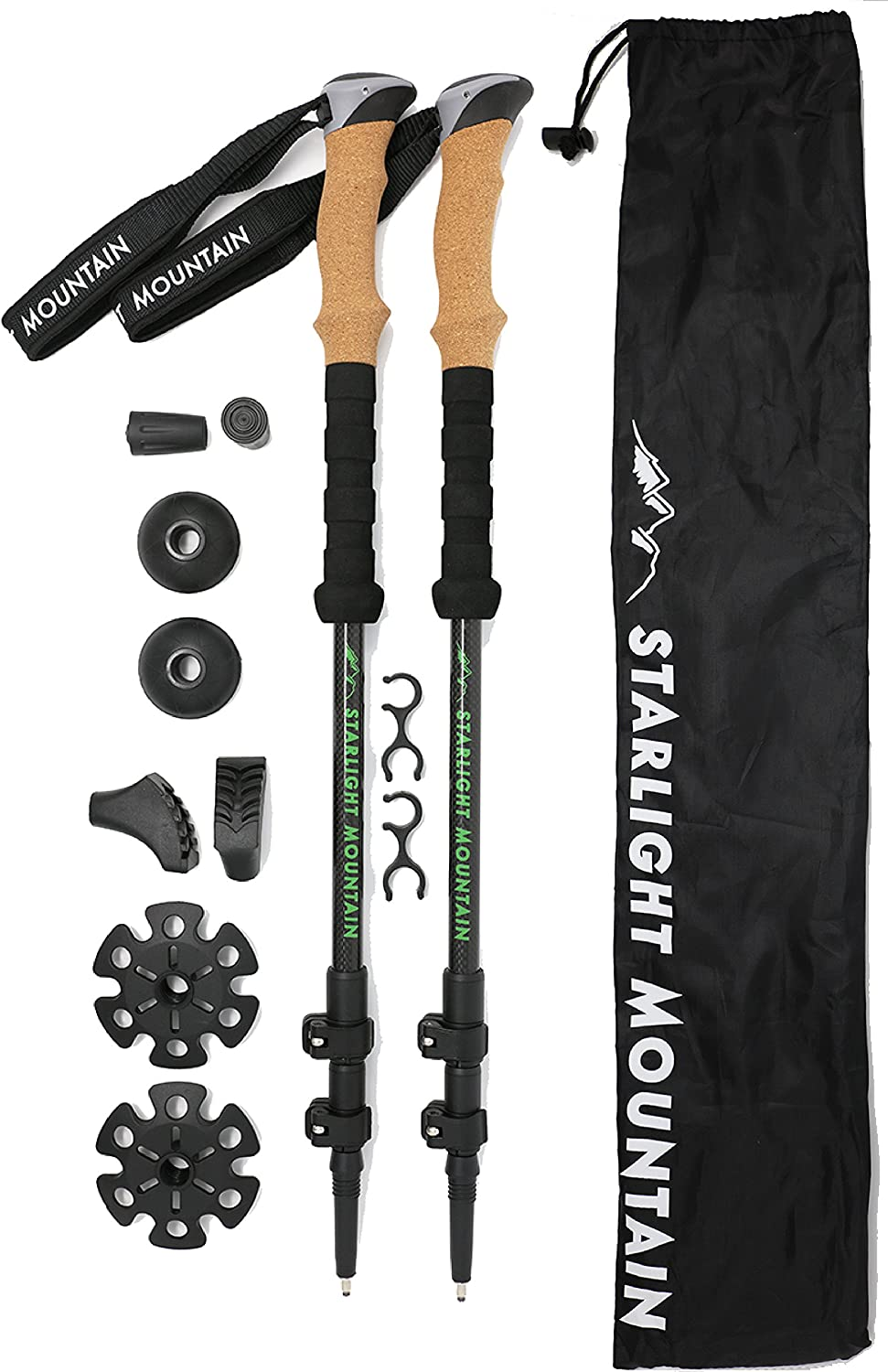 Starlight Mountain Outfitters Trekking Poles Premium Lightweight Carbon Fiber Collapsible, Adjustable with Quick Flip Locks, Cork Grips, Padded Wrist Straps Tungsten Tips