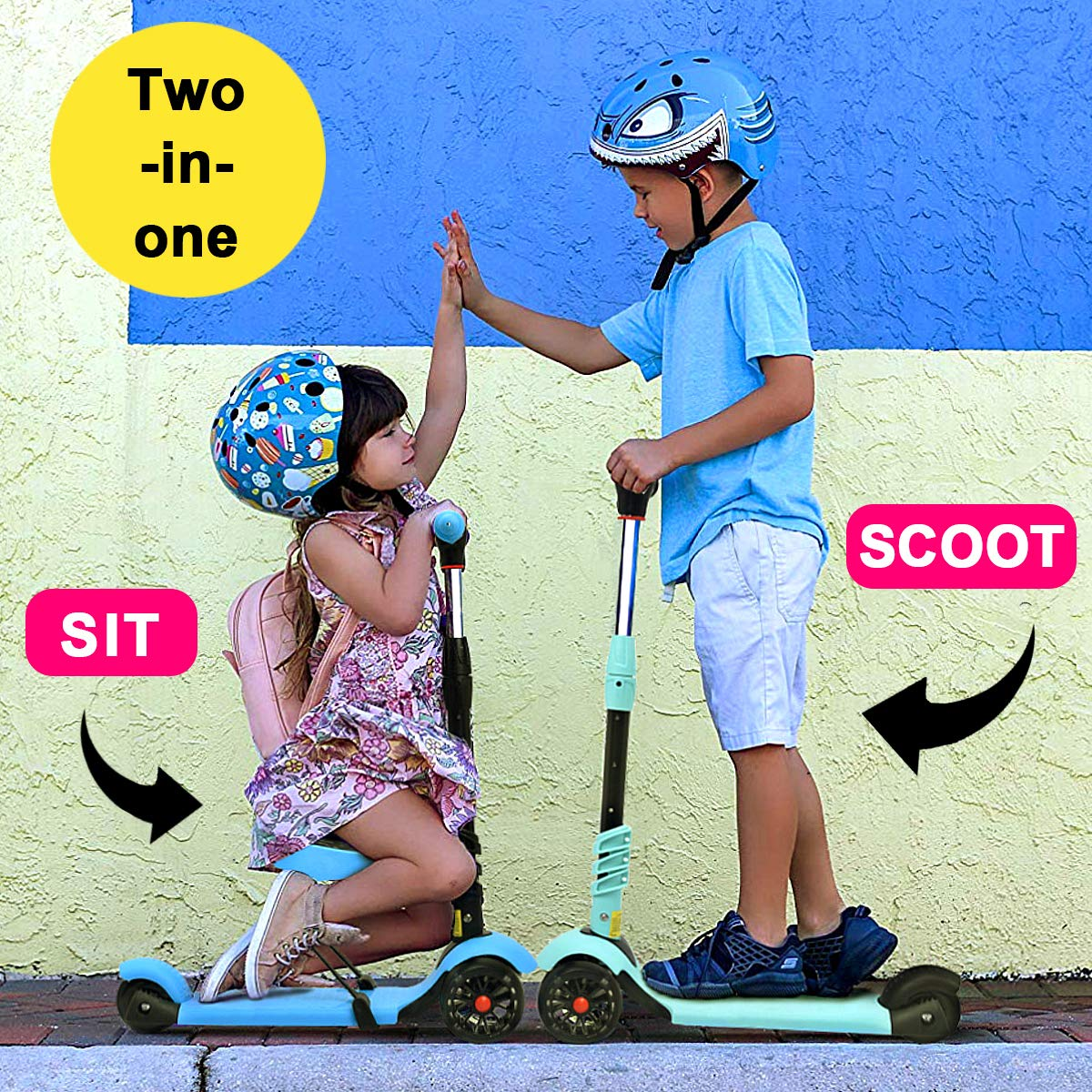 XJD 2 in 1 Scooter for Kids with Removable Seat Toddler Scooter for Boys Girls Adjustable Height PU Flashing Wheels Extra Wide Deck 3 Wheel Scooter ...