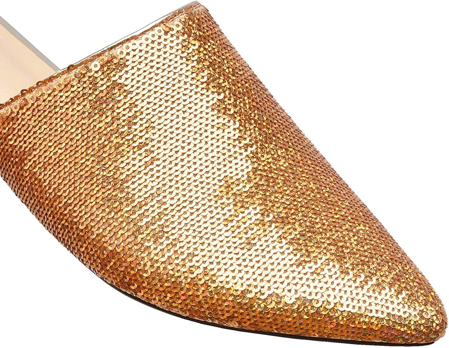 The rest of my life Gold Mules Shoes Women Bling Slippers Pointed Toe Sequined Cloth Flat Loafers Shiny Women Shoes Size 45 46 47 48,Black,11