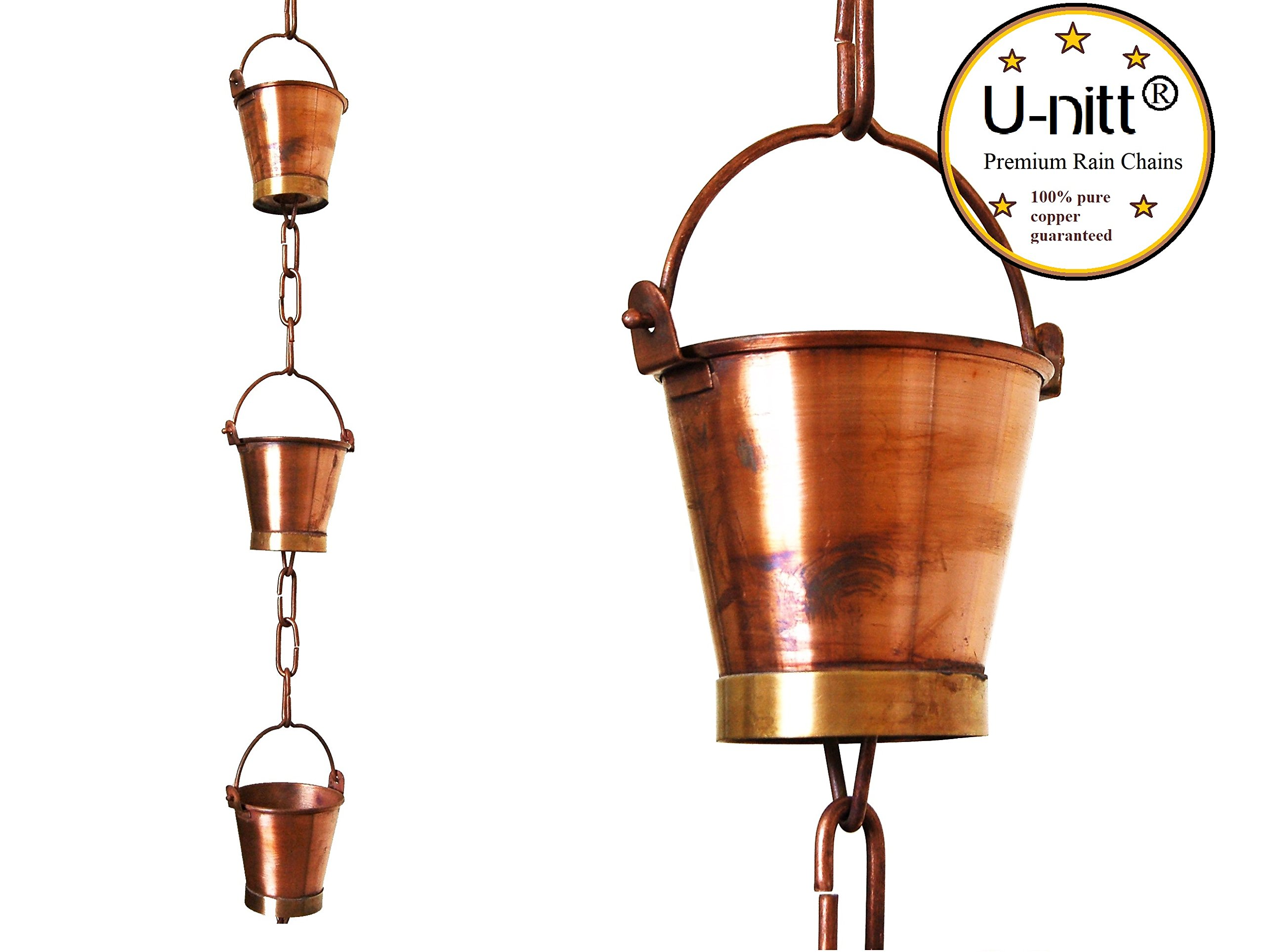 U-nitt 8-1/2 feet Pure Copper Rain Chain: Bucket Cup 8.5 ft Length #8146