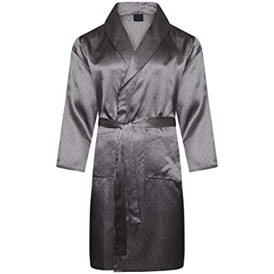 Octave® Mens Luxury Summer Printed Satin Kimono Wrap/Robe / Dressing ...