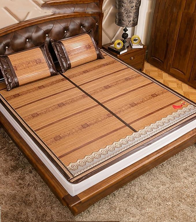 Utilisation double face tapis de lit --- Tapis en bambou double face Tapis en bois carbonisé raffiné 1,5 mètres 1,8 mètres Tapis en bambou pliants Tapis d'été / tapis en bambou Tapis