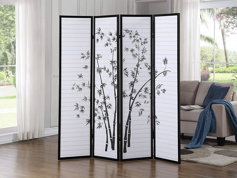 SQUARE FURNITURE Bamboo Print Oriental Shoji Screen / Room Divider 4 Panel by SQUARE FURNITURE