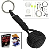 550 Paracord Keychain #1 BEST Survival Fishing Kit Flint Fire Starter Holtzman's