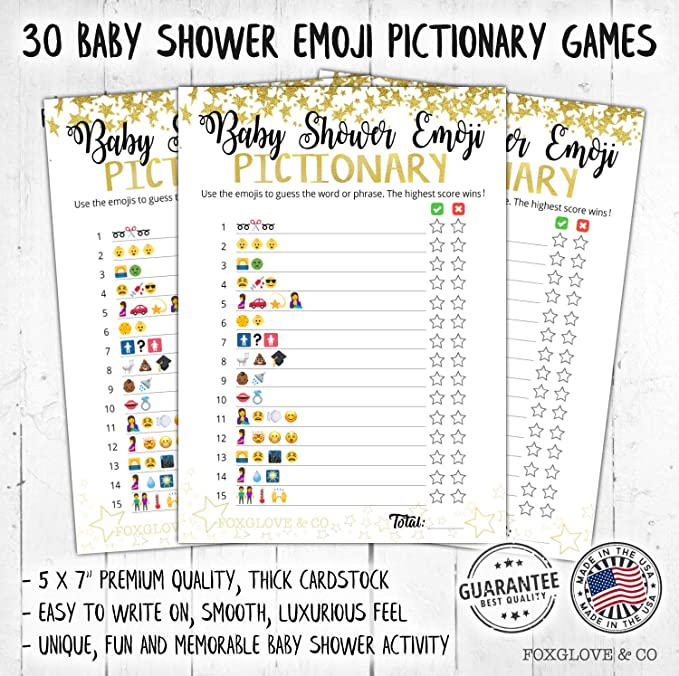 Amazon Com 30 Emoji Pictionary Baby Shower Games Cute Fun Baby