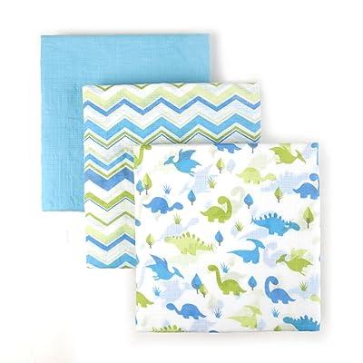 Tadpoles S/3 Muslin Receiving Blankets Dino, Blue, One-Size
