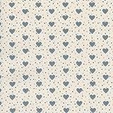 Tela de algodón estampada 'Corazones de amor' - gris medio y gris claro sobre un fondo de color marfil - 100% algodón suave   ancho: 160 cm (por metro lineal)*