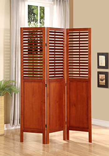 Legacy Decor 3 Panel Solid Wood Screen Room Divider with Shutters on Top Half, Walnut