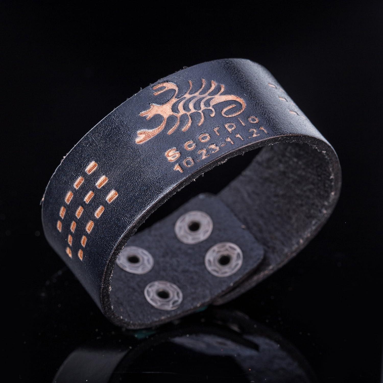Dawapara Punk Astrology Water Sign Scorpio Pisces Cancer Horoscope 12 Zodiac Wristband Cuff Leather Bracelet for Men
