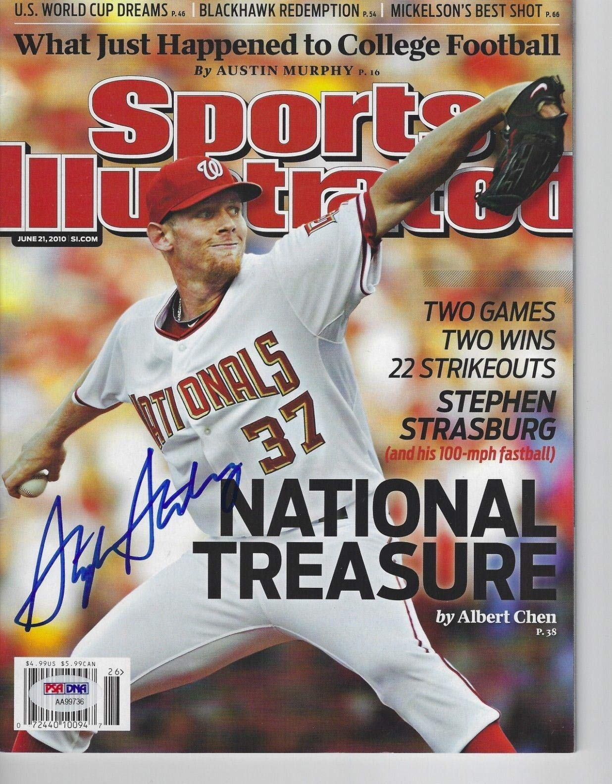 STEPHEN STRASBURG (Nationals) Signed SPORTS ILLUSTRATED with COA (NO Label) PSA/DNA Certified Autographed MLB Magazines