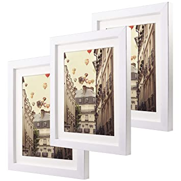 Amazoncom 8x10 Matted White Picture Frames Set Of 3 Glass Front