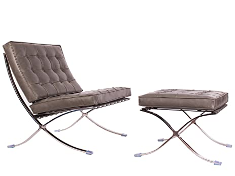 Mid Century Modern Classic Barcelona Style Replica Lounge Chair U0026 Ottoman  With Premium Grey PU Leather