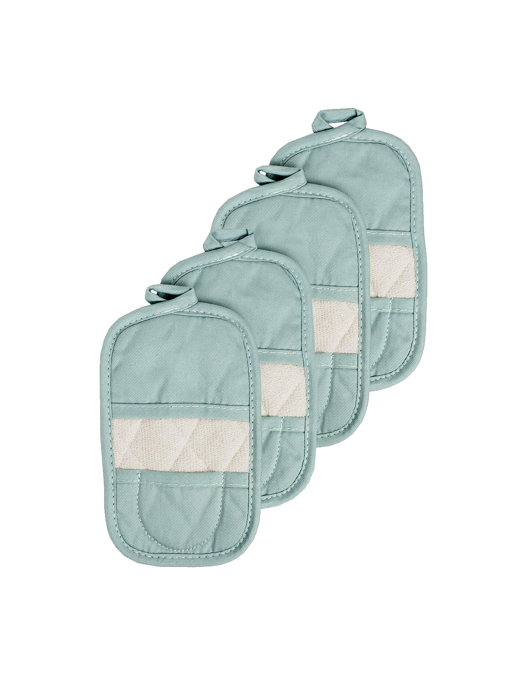 Ritz Royale Collection 100% Cotton Terry Cloth Mitz, Dual-Function Pot Holder/Oven Mitt Set, 4-Pack, Dew by Ritz