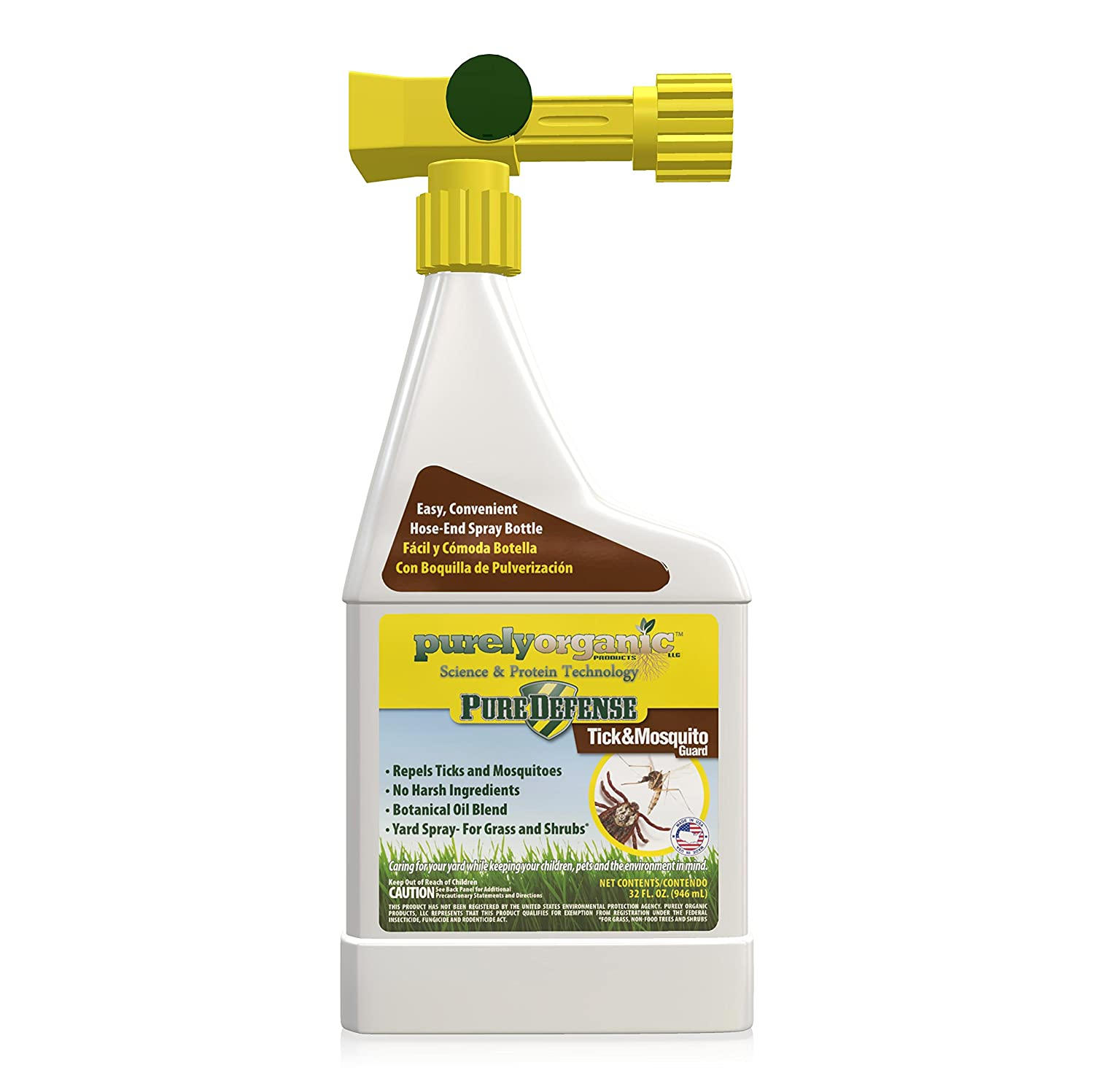 Amazon.com : 32oz Purely Organic Products LLC Pure Defense Tick & Mosquito  Guard Hose-End Tick & Mosquito Repellent. : Garden & Outdoor - Amazon.com : 32oz Purely Organic Products LLC Pure Defense Tick