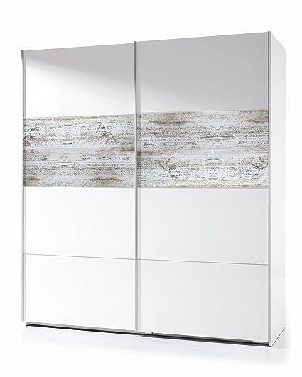 Habitdesign ARC181BO - Armario corredera Vintage, Acabado Blanco Brillo y Decapé, Medidas: 180x200x61 cm de Fondo