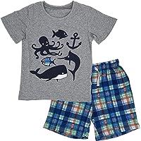ECOLIVZIT Boy's Clothes Set Summer Cotton T-Shirt and Shorts 2 Pieces 2T-7T