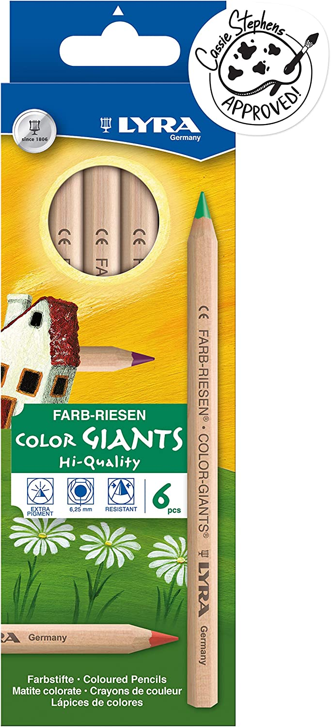 LYRA Color-Giants Colored Pencils, Unlacquered, 6.25 Millimeter Cores, Set of 6 Pencils, Assorted Colors (3931060)