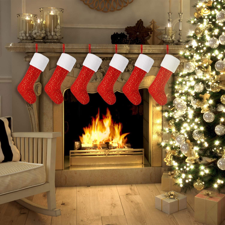 Syhood Christmas Stockings Red Velvet Xmas Stocking Personalized Large Fireplace Stockings Golden Star Print Stocking for Christmas Decoration DIY Craft 6