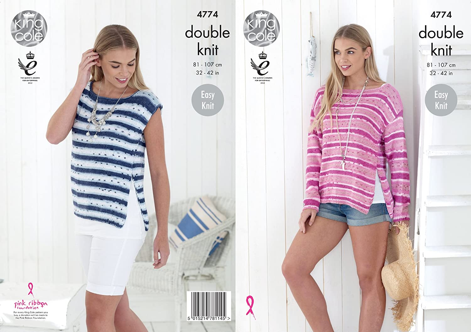 4c9f4de5a9e2 King Cole 4774 Knitting Pattern Womens Easy Knit Top and Sweater in King  Cole Cottonsoft Crush DK  Amazon.co.uk  Kitchen   Home