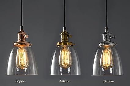 Feven - Iluminación colgante, lámpara de techo transparente, iluminación vintage de alta calidad, combina con cualquier decoración, bombilla incluida, ...