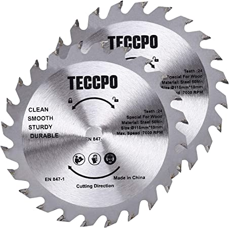 Lame de scie circulaire TACB28A, 2 pièce TCT 24 Dents 115mm*10mm alésage pour TECCPO Scie Circulaire TAMS24P/TAMS25P - - Pour scie de 115 mm