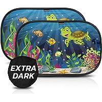 CARAMAZ Klevend Zonnescherm Auto Raam extra donker (51x31cm) – Auto Zonwering voor kinderen, huisdieren en volwassen…