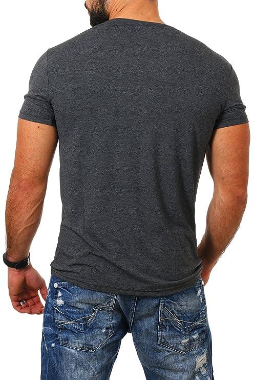 771a0a9ede64 Young Rich Herren Rundhals Ausschnitt T-Shirt Einfarbig Slimfit mit  Stretchanteilen Uni Basic Round Neck Tee  Amazon.de  Bekleidung