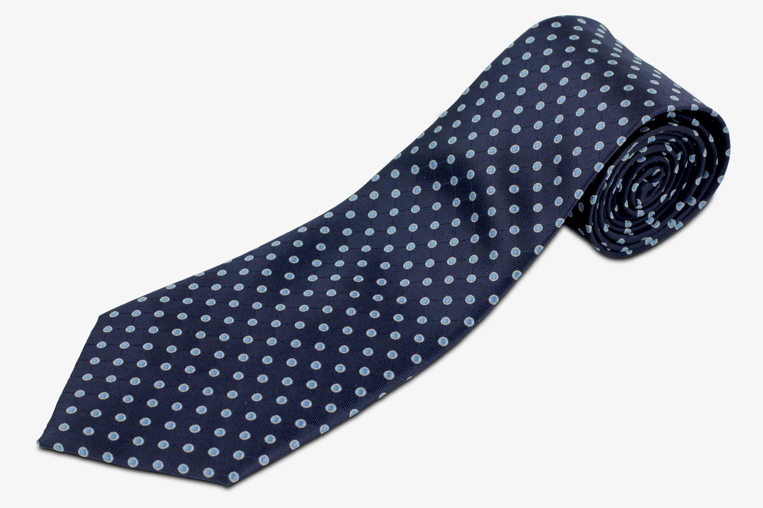 100% Silk Extra Long Navy Necktie with Polka Dots (70'' Long)