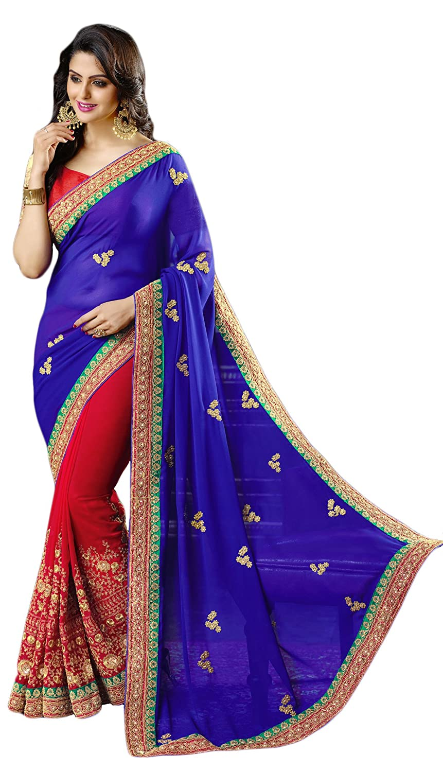 c17452907479fe Right Enterprise Women's Georgette Saree Zari, Resham Embroidery,  Embroidery Butta With Stone Work And Lace Border Work With Blouse (Blue &  Maroon): ...