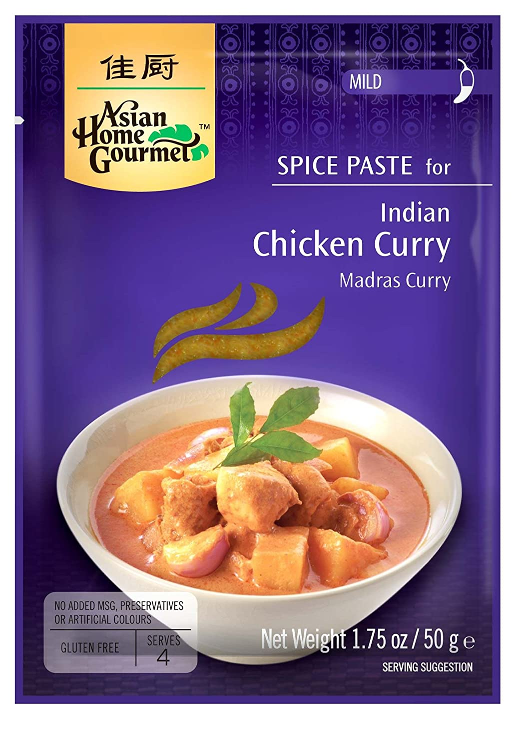 Asian Home Gourmet, Indian Spice Chicken Curry (Madras Curry) Mix, 1.75-Ounce Pouch (Pack of 12)