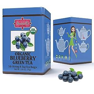 Brew La La Organic Green Tea - Natural Blueberry Flavor - 50 Tea Bag Tin - Low Caffeine Gourmet Tea - Certified Organic
