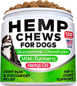 All-Natural Hemp Chews + Glucosamine for Dogs - Advanced Hip & Joint Supplement w/Hemp Oil Turmeric MSM Chondroitin + Hemp Protein to Improve Mobility - Joint Pain Relief Made in The USA - 120 Ct
