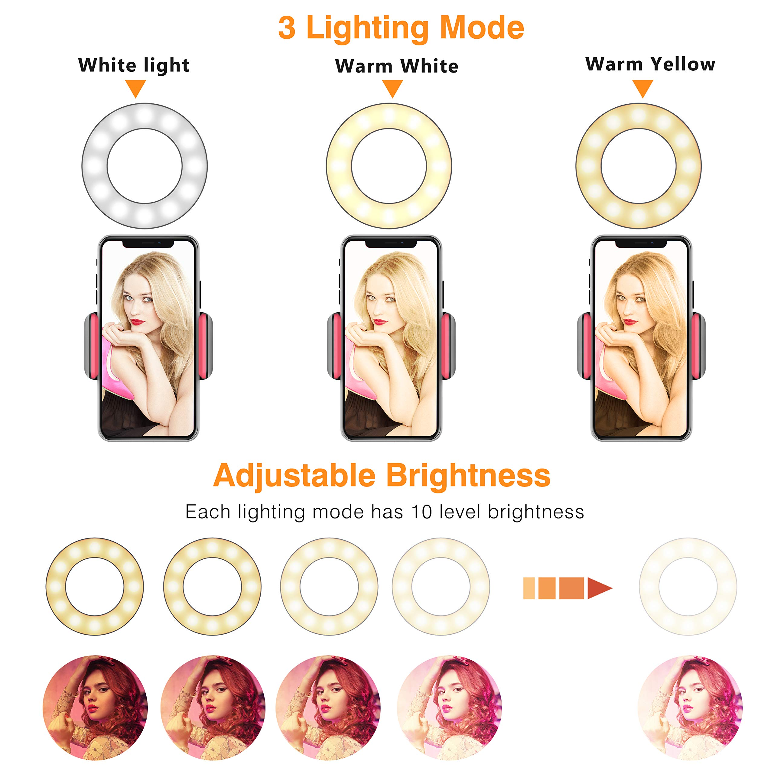Selfie Ring Light, UPGRADED Selfie Light with Cell Phone Holder Stand for Live Stream Makeup Including Remote Shutter, LED Camera Light 3 Light Mode 10 Level Brightness Flexible Arm for iPhone/Android by Erligpowht (Image #4)