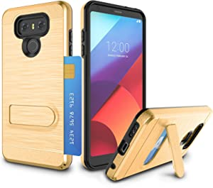 LG G6 Case, LG G6 Plus Card Case, Zectoo Heavy Duty Defender Shock Absorption Impact Resistant Protection w/Kickstand Bumper Wallet Card Holder Case for LG G6 H871/H872/LS993/US997/VS998 - - Gold