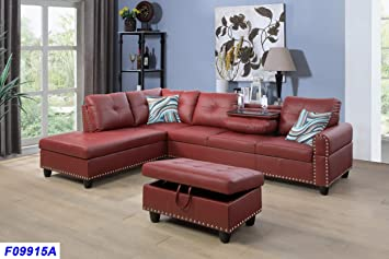 Amazon.com: Beverly Fine Funiture Sectional Sofa Set With ...