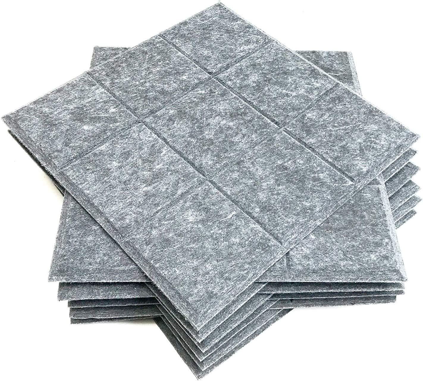12 Pack Set Acoustic Absorption Panel, 12 X 12 X 0.4 Inches Grey Acoustic Soundproofing Insulation Panel Beveled Edge Tiles, Acoustic Treatment Used in Home & Offices, 9 Blocks Square Design