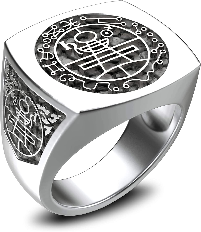 Magic Hexagram Amulet Ring 925 Sterling Silver Size 6-15 Goetia Hexagram Seal of Solomon ring